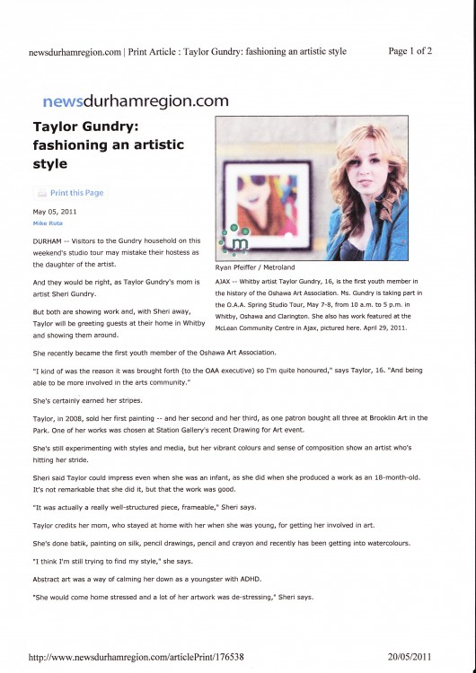 Article About Taylor Gundry 2011